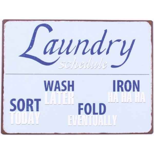 Metalskilt - Laundry Schedule